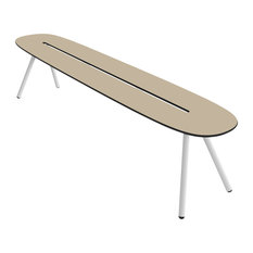 Small A-Lowha Bench, Sand, White Frame