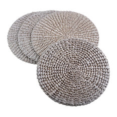 Natural Water Hyacinth Round Hand Woven Rattan Placemat, Set of 4, Silver