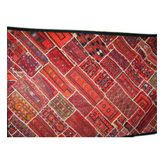 Mogul Interior - Consigned Folk Banjara Embroidered Throw Kuch Red Tapestry - Tapestries