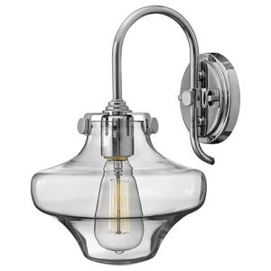Congress Glass Wall Light, Chrome
