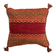 "Trisha Global-Inspired Poly Filled Accent Pillow Dark Red 18""x18""x4"""