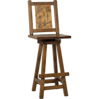 Western Twist Set of 2 Swivel Bar Stools in Wormy Maple Wood, Provincial Stain