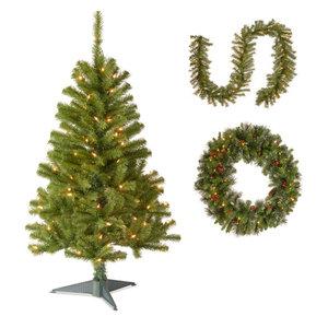 "4' Fir Grande Wrapped Tree,Norwood Fir Garland,30"" Crestwood Spruce Wreath"