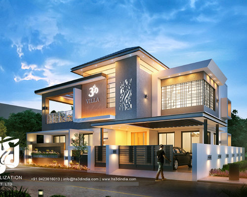 3d modern bungalow exterior elevation night rendering dusk Indian bungalow design