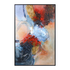 """Dramatic Oversize 74"""" Red Blue Abstract Painting Modern Wall Art Shapes Framed"""