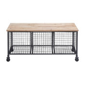 Providence Metal and Wood Bench With Basket