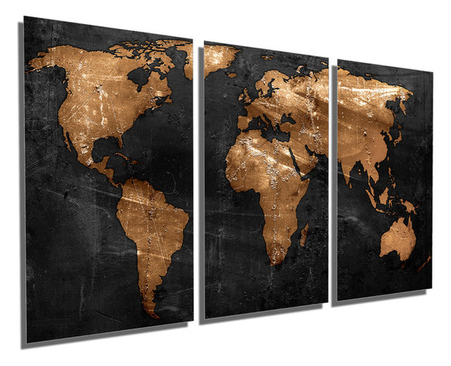 Bronze black world map metal print wall art 3 panel split triptych 36x18 bronze black world map metal print wall art 3 panel split gumiabroncs Gallery