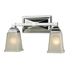 Sinclair 2-Light for The Bath, Polished Chrome With Frosted Glass