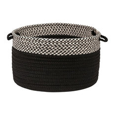 """Houndstooth Dipped Basket, Black, 18""""x12"""""""