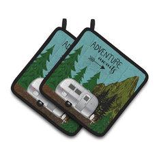 Airstream Camper Adventure Awaits Pot Holders, Set of 2