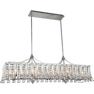 Nile 10-Light Drum Shade Chandelier, Antique Forged Silver
