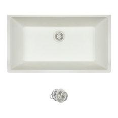 Large Single Bowl Quartz Kitchen Sink, White, Colored Strainer
