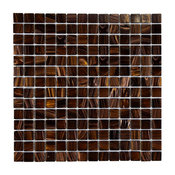 "12""x12"" Cuivre Translucent Glass Mosaic Tiles, Set of 10, Brown Gold"