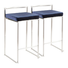 LumiSource Fuji Counter Stool Set of 2, Blue, Stainless Steel Frame