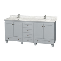 "Acclaim 72"" Double Vanity, Oyster Gray, White Carrera Marble Top, Square Sinks"
