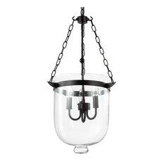 Ideal Lux Entry Black Enamel and Clear Glass Pendant, Large