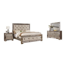 Ava Mirrored Silver Bronzed 5-Piece Bedroom Set, Eastern King