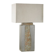 Grey, Natural Slate  Outdoor Table Lamp Made Of Stone With A Taupe, Clear Nylon