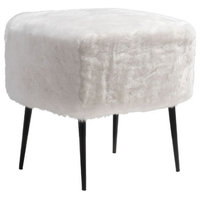 HomeRoots Furniture, Stool, White, Polyblend Painted Steel