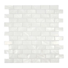 "White Pearl Shell Tile, Chip Size: 1""x2"", 12""x12"" Sheet"