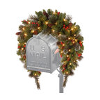 """36"""" Crestwood Spruce Mailbox Swag With Battery Operated Warm White LED Lights"""