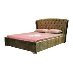 Greatime B1117 Velvet Fabric Bed, Queen, Taupe