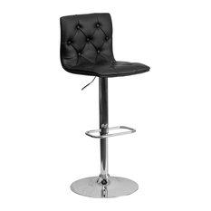 Flash Furniture Contemporary Tufted Black Vinyl Adjustable H Bar Stool