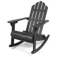Cara Outdoor Adirondack Acacia Wood Rocking Chair, Dark Gray Finish