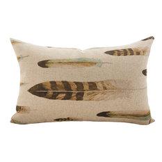 Lumbar Linen Feather Throw Pillow