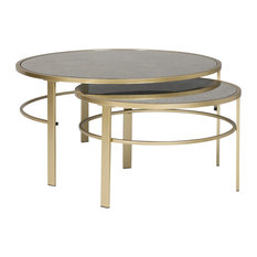 Home Corbel Modern Round Nesting Coffee Table Set in Gold / Antiqued Mirror