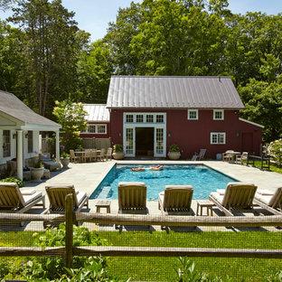 Cottage backyard rectangular pool photo in New York