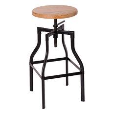 Melba Adjustable Height Barstool Matt Gunmetal With Natural Wood Seat