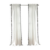 "Lush Decor Pom Pom Window Curtain Panels, 84""x50"", Black, Set of 2"