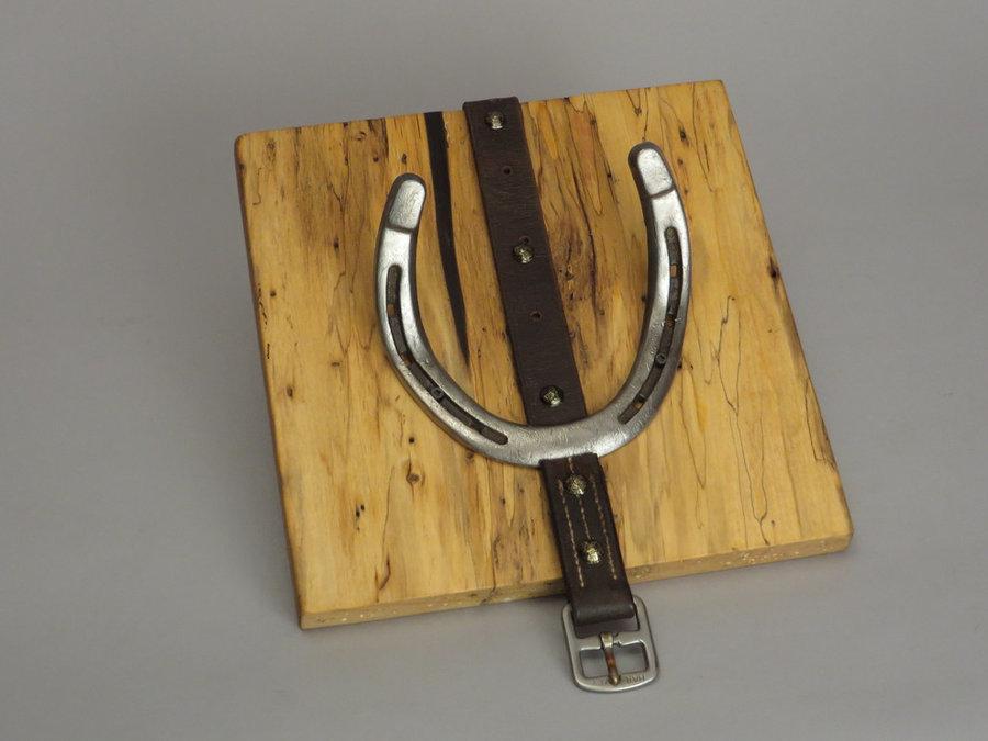 #R15005 Coat Rack. Reclaimed Box Elder, horseshoes, leather.
