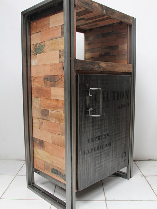 Superb 1 Door Storage Cabinet Made From Salvaged Fishing Boat Wood   Side Tables  And End Tables