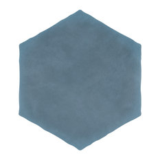 "SomerTile Palm Hex 6"" x 7"" Porcelain Floor and Wall Tile, Matte Blue"