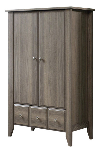 Bedroom Wardrobe Armoire Storage Cabinet, Ash Wood Finish