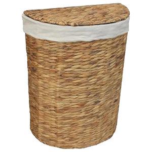 Water Hyacinth Semi-Circle Laundry Basket, Large