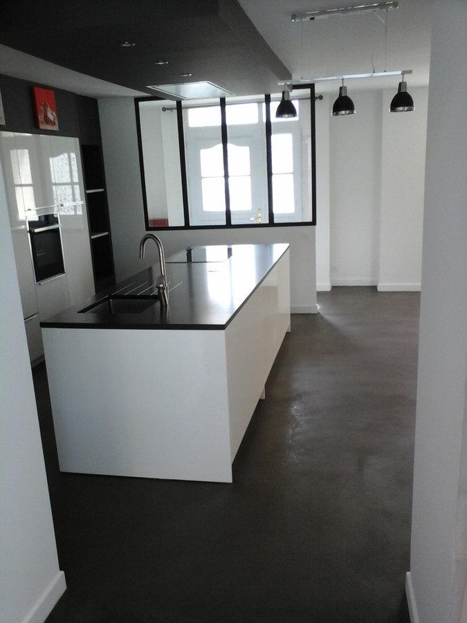 sol béton ciré espace cuisine