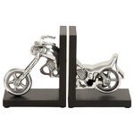 """Brimfield & May - Set of 2 Brass Wood Vintage Bicycle Bookends, 7"""" x 9"""", Motorcylce Bookend - Offers a playful way to stabilize your favorite books. Keep your books and magazine organize with this quirky and adorable bookends. Motorcycle shaped bookends with solid pattern. Designed with black rubber stoppers at the base that prevent scratching furniture and table tops, as well as sliding around. This item comes shipped in 1 carton. Keep your books and magazine organize with this quirky and adorable bookends. Suitable for indoor use only. Made in India. This set includes of 2 bookends. Contemporary design."""