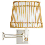 Arteriors Home - Beth Webb for Arteriors Sea Island Sconce - Recalling the humble yet complex architecture of a wicker basket, the Sea Island Sconce has a rattan structure and an ivory linen-wrapped interior. The nimble, charming and always practical swing arm sconce has a diffuser for flexible needs. The birdcage like structure offers warm, layered light and the horizontal and vertical lines create subtle pattern play.