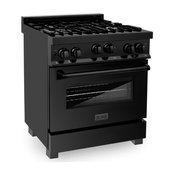"""ZLINE 30"""" 4.0 cu. ft. Range With Gas Stove and Gas Oven, Black Stainless Steel"""