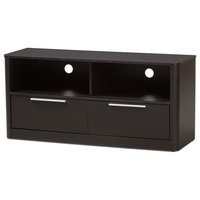 Modern Finished Wood 2-Drawer TV Stand, Walnut Brown
