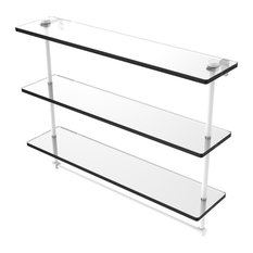 "22"" Triple Tiered Glass Shelf With Integrated Towel Bar, Matte White"