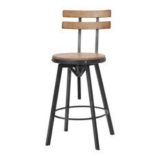 GDF Studio Poe Anique Finish Firwood Height Adjustable Bar Stool
