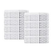 Isola 8-Piece Turkish Cotton Hand Towel Set, White