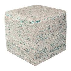 "F801 Ice Blue Viscose, 18""x18""x18"" Square Pouf"