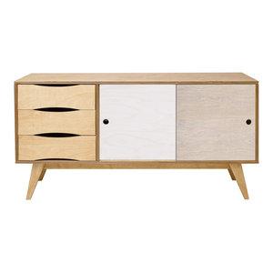 SoSixties Sideboard, Oak, White and Pebble Grey, Large