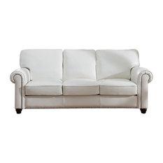 1st Avenue   Pembrooke Leather Craft Sofa, Ivory White   Sofas