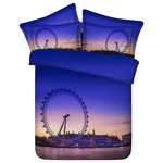 Duvet Life - 3D Blue Ferris Wheel Bedding,, 4-Piece Duvet Cover Set, Queen - Crafted from 100% cotton this bedding set is printed with a stunning view of The London Eye. If you are fond of traveling and love the London city, our 3D Blue Ferris Wheel Bedding Set is what you need. Experience the excitement of riding the London Eye all over again with this bed spread. Displaying a perfect blend of blue and purple color scheme this duvet set guarantees years of use.